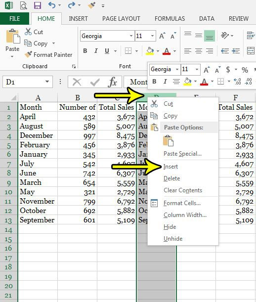 how to insert a column in excel 2013