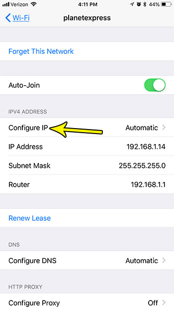 how manually assign ip address iphone