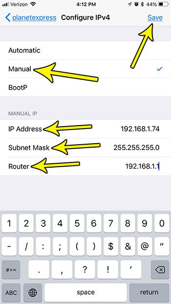 how set manual ip address iphone 7