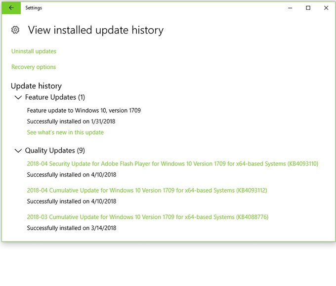how to view the installed update history windows 10