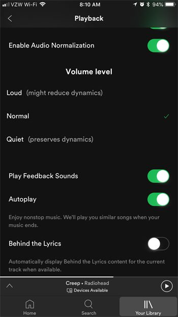 how to change the volume level in spotify on an iphone