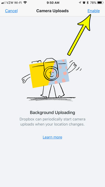 how to enable background uploading in dropbox iphone