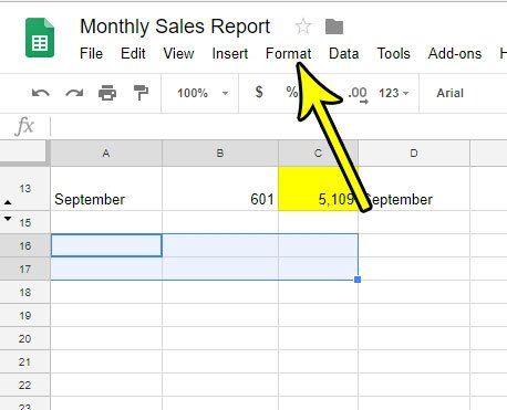 click the format tab at the top of google sheets