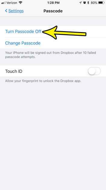 how turn off dropbox iphone passcode