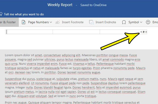 insert page numbers in word online