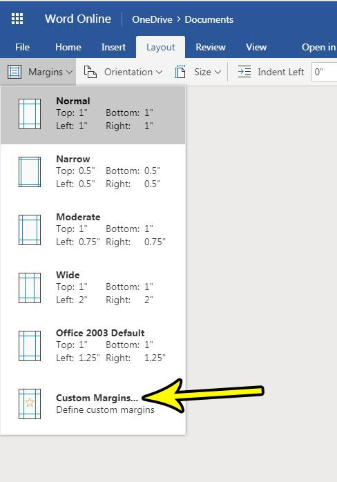 how to change margins in word online