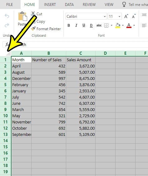 how select entire spreadsheet excel online