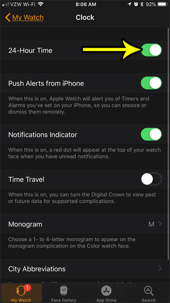 how to enable or disable 24 hour clock on apple watch