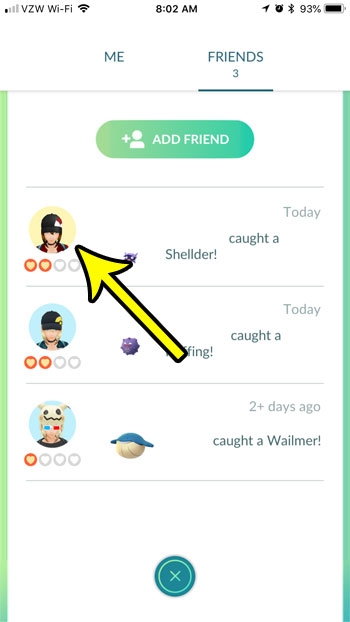 select friend pokemon go