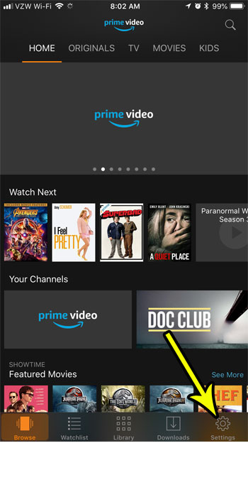 open prime video settings
