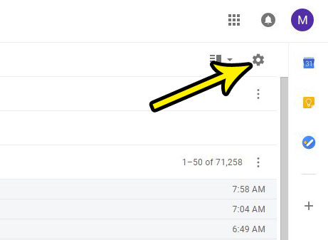 click the gear icon in gmail