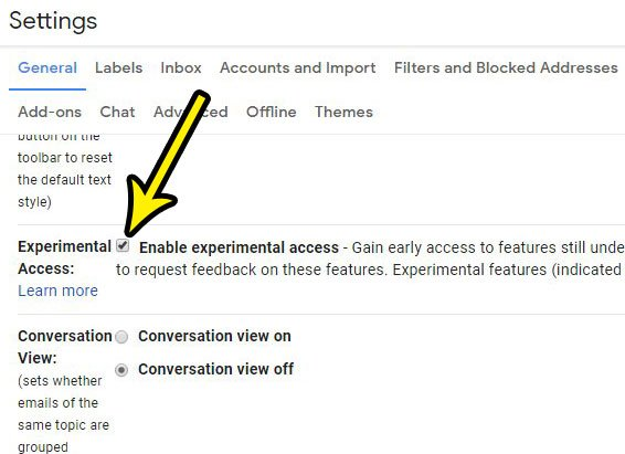 how to enable experimental access in gmail