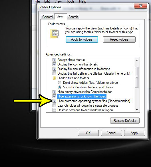how to hide the file type in windows 7