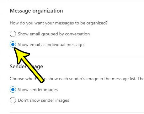 how to turn off conversations in outlook.com