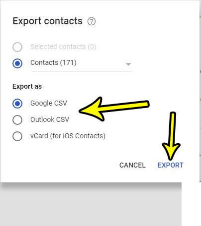 how to export gmail contacts