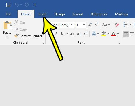 click the insert tab in word