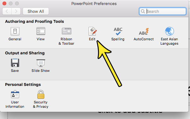 open the edit menu in powerpoint for mac