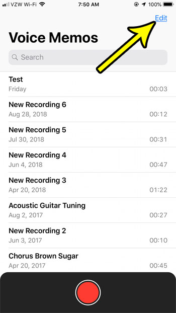 remove old voice memos iphone