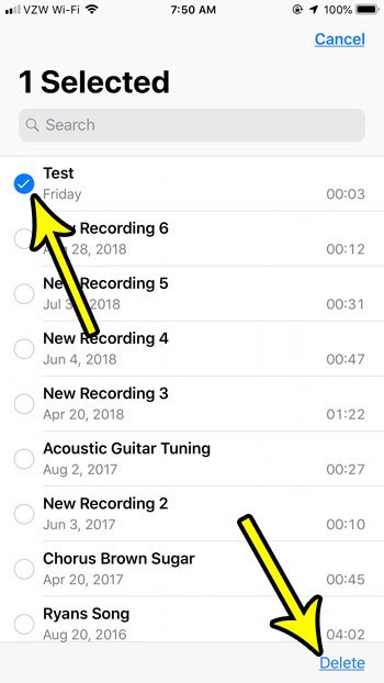 how to delete voice memos on an iphone 7