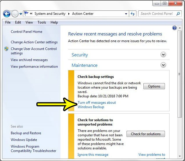 stop messages about windows backup