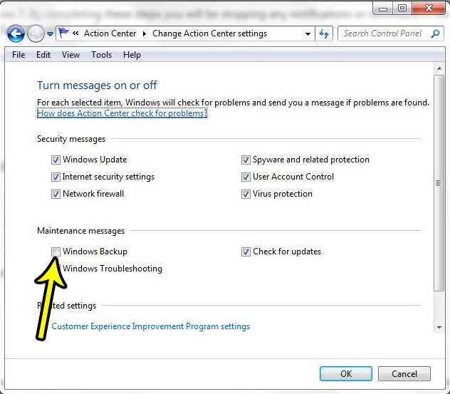 how to stop windows 7 backup messages