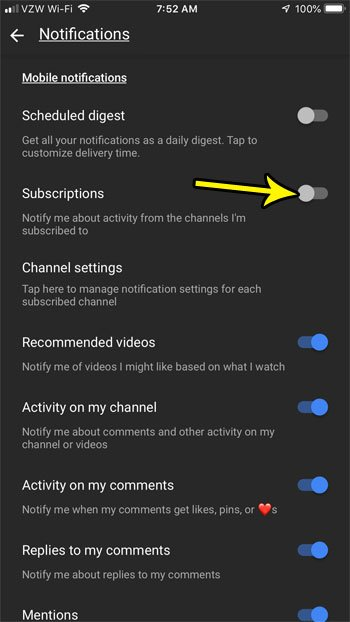 how disable notifications for youtube subscriptions on iphone
