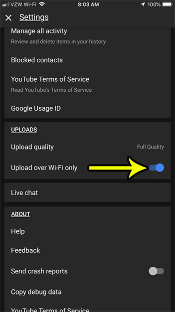 only upload over wifi in youtube iphone app