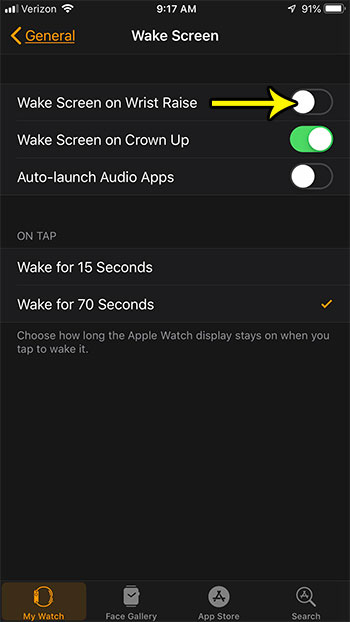 apple watch wake screen on wrist raise