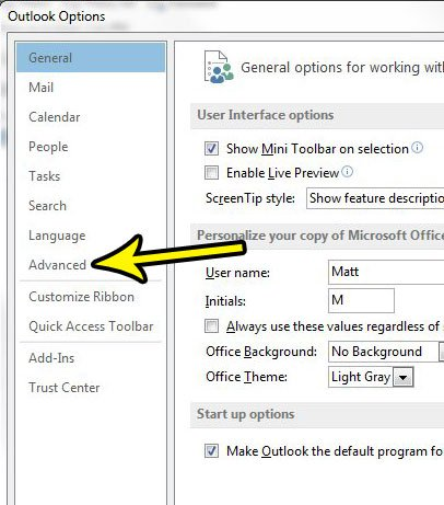 open advanced section of outlook options