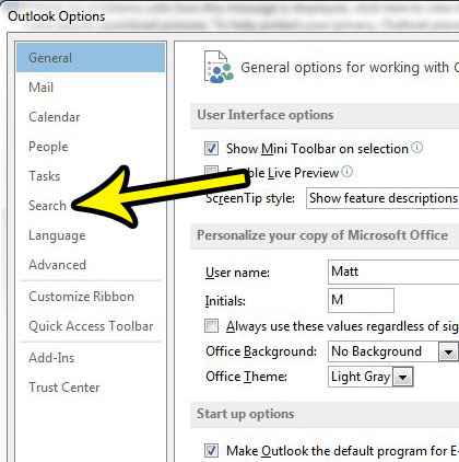 search tab in outlook options