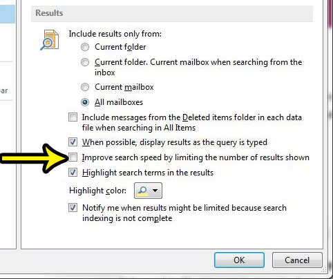 how to stop showing limited search results in outlook 2013