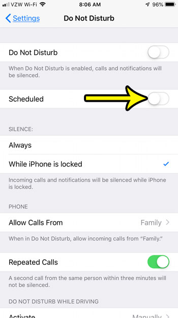 how stop automatic do not disturb on iphone