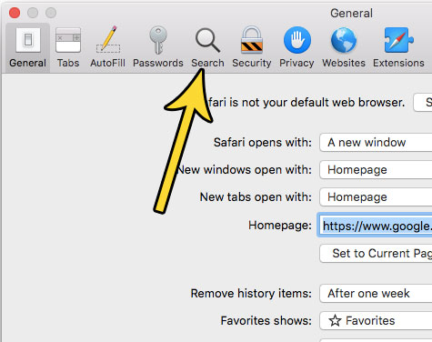mac safari search settings