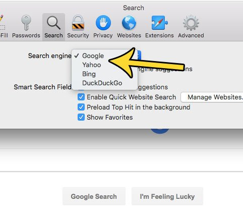 how to change default search engine mac safari