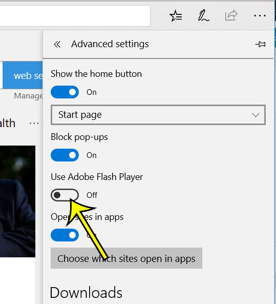 how to disable adobe flash player in microsoft edge