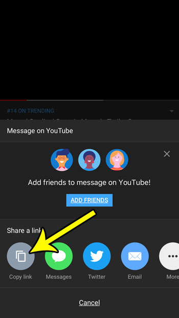 how to share a youtube link on an iphone
