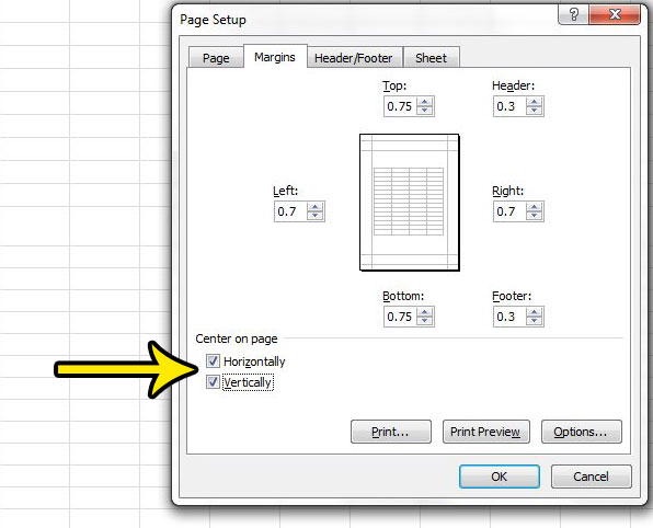 how to center horizontally and vertically in excel 2010