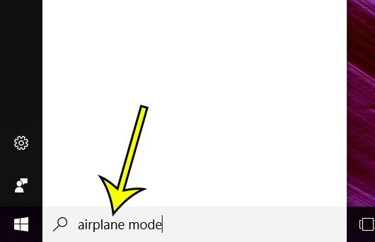 type airplane mode into the search field
