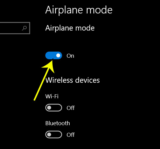how to enable airplane mode in windows 10