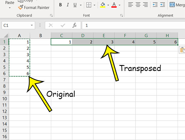 excel transpose example