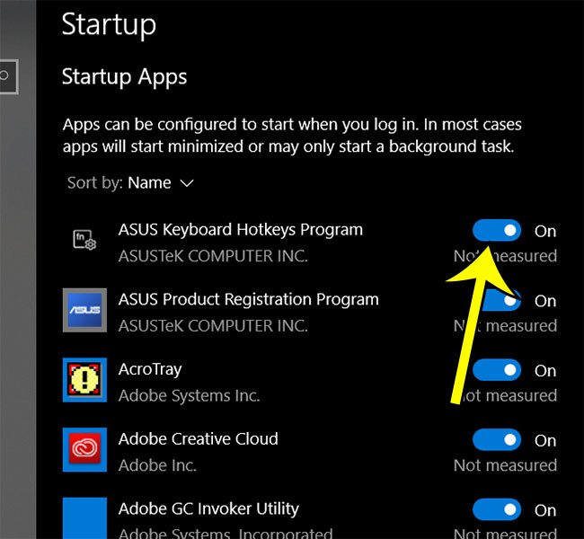 how to view and change windows 10 startup apps
