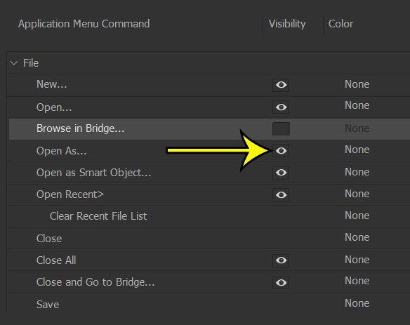 how to hide a photoshop menu item