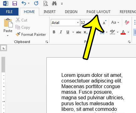 word click page layout tab