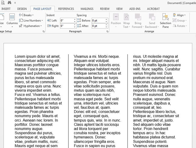 put lines between columns in word document