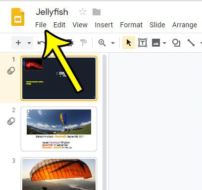 open google slides file menu