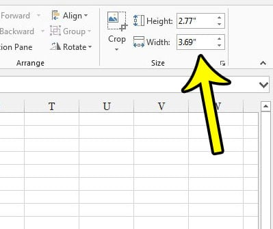 how to specify image height and width in excel