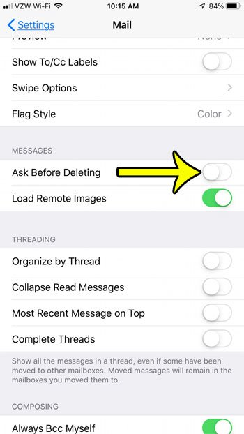 how to remove confirmation button when deleting iphone mail