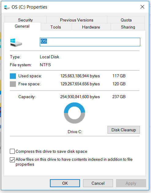how can i view remaining storage in windows 10