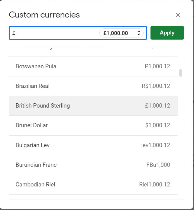 how to apply other currency formatting in google sheets