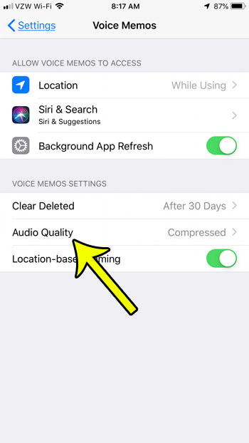 how to change voice memos audio quality on iphone